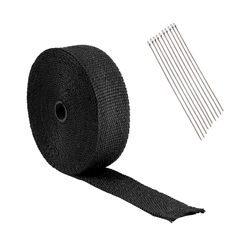 10M Wrapped Exhaust Pipe Black Fiberglass Insulation Tape + 10 Cable  Bundles 30C