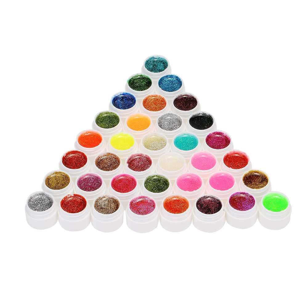 Anself 36pcs Mix Colors Glitter Powder UV Gel Nail Art Gel Polish Extension Professional UV Gel Set Builder Gel for Nai