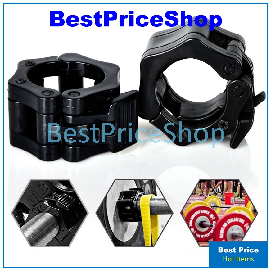 1Pair Lock Jaw Collars Olympic Barbell Muscle Clamps Bar Weights Lifting Support