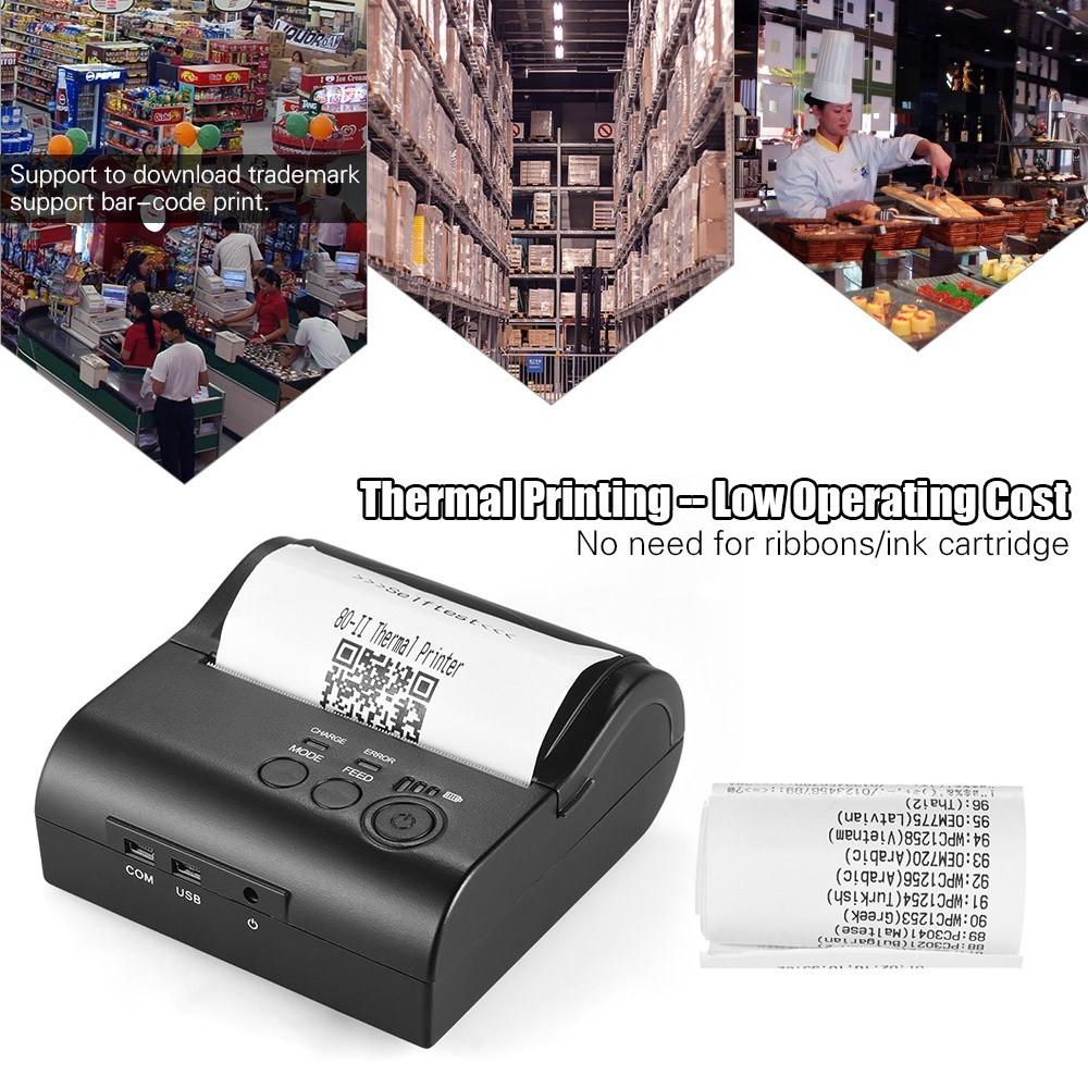 Portable Mini 80mm Bluetooth 4 0 Portable Thermal Printer
