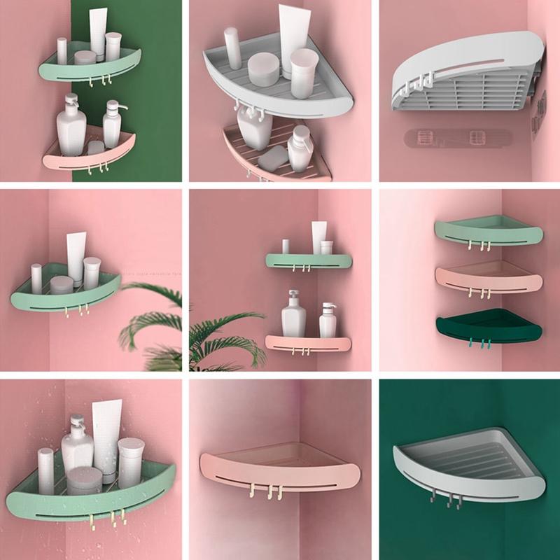 2//3pcs Bathroom Triangular Shower Shelf Corner Bath Store Holder Organizer Rack