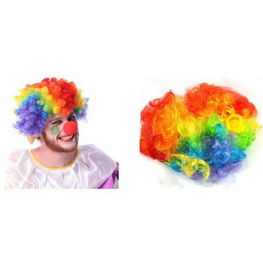 Clown Wig Hair Curly Rainbow Clown Costume Party