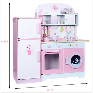 Wooden Kitchen Playset Pretend Play 101cm height | Shopee ...