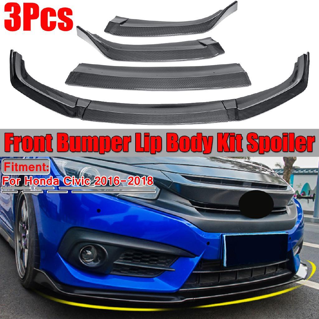 Glossy Black Front Bumper Cover Lip Spoiler For Honda Civic 2016-2018 3PCS gk