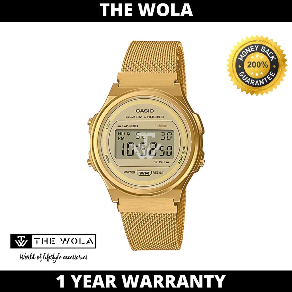 Casio Women's Digital A171WEMG-9ADF Stainless Steel Band Gold Watch