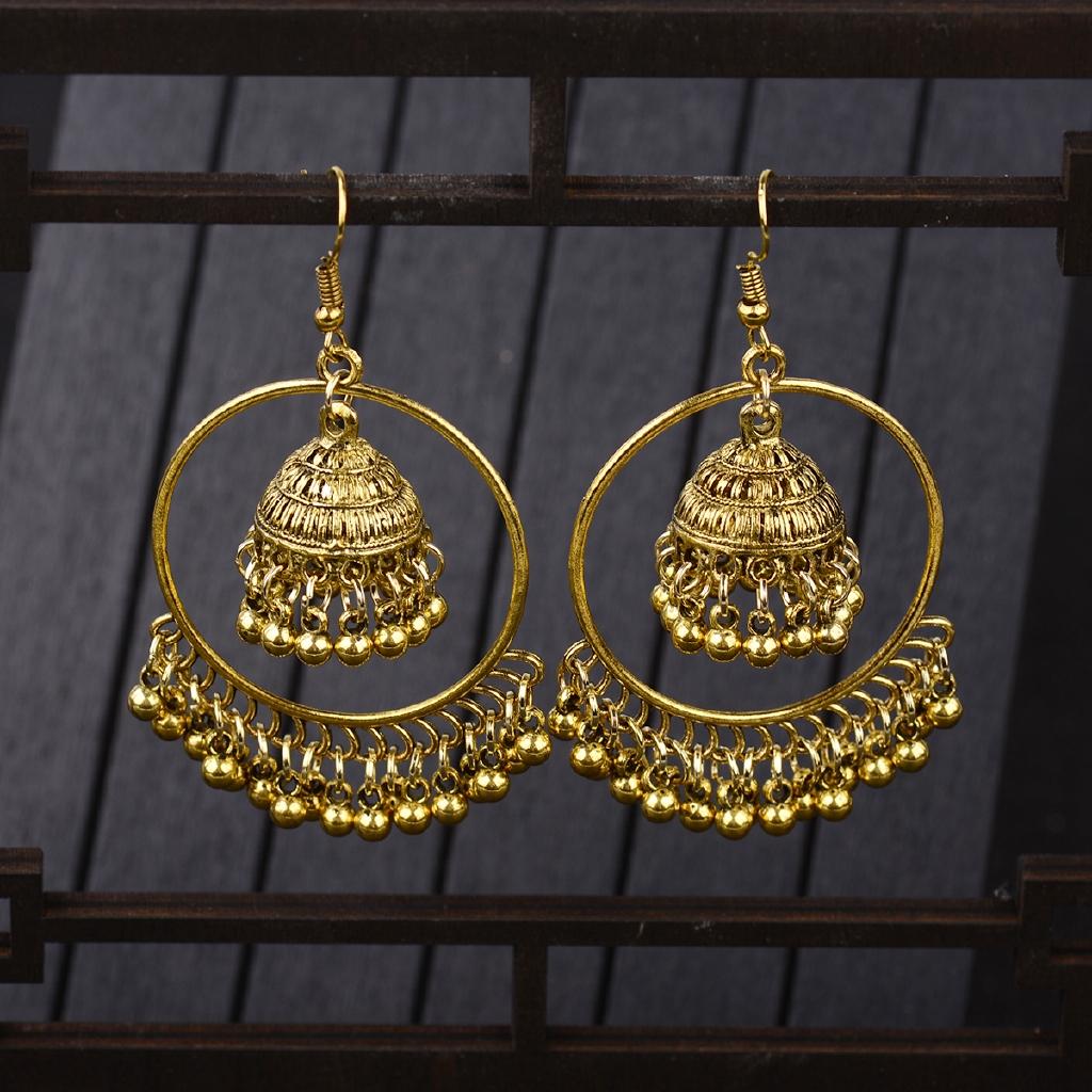 Womens Gold Plated Big Geometric Metal Drop Earrings Boho Vintage Dangle Earrings For Girls Jewelry