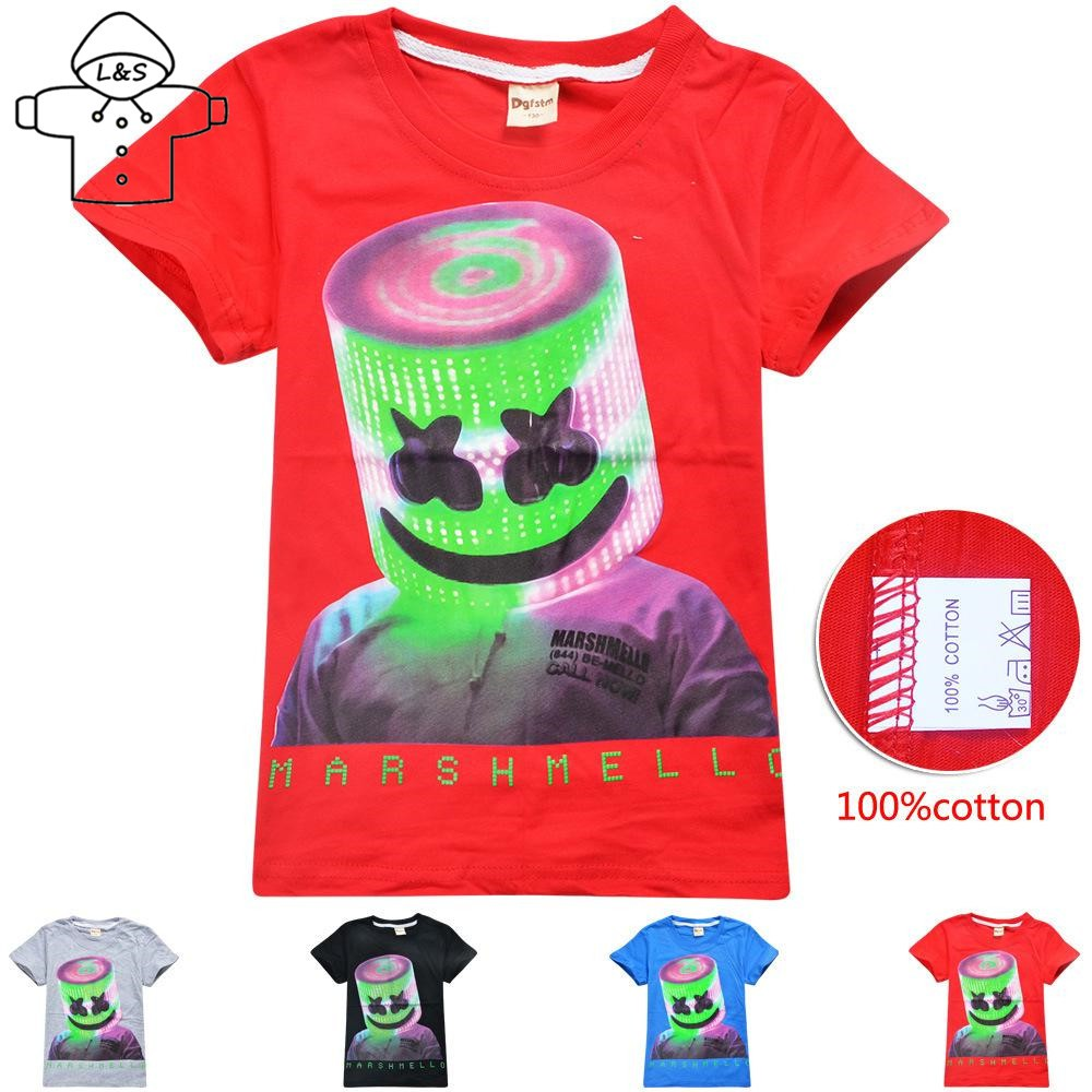 0e1f50329d L&S Children T-shirt DJ Marshmello Music Cotton Summer Boy Short Sleeve