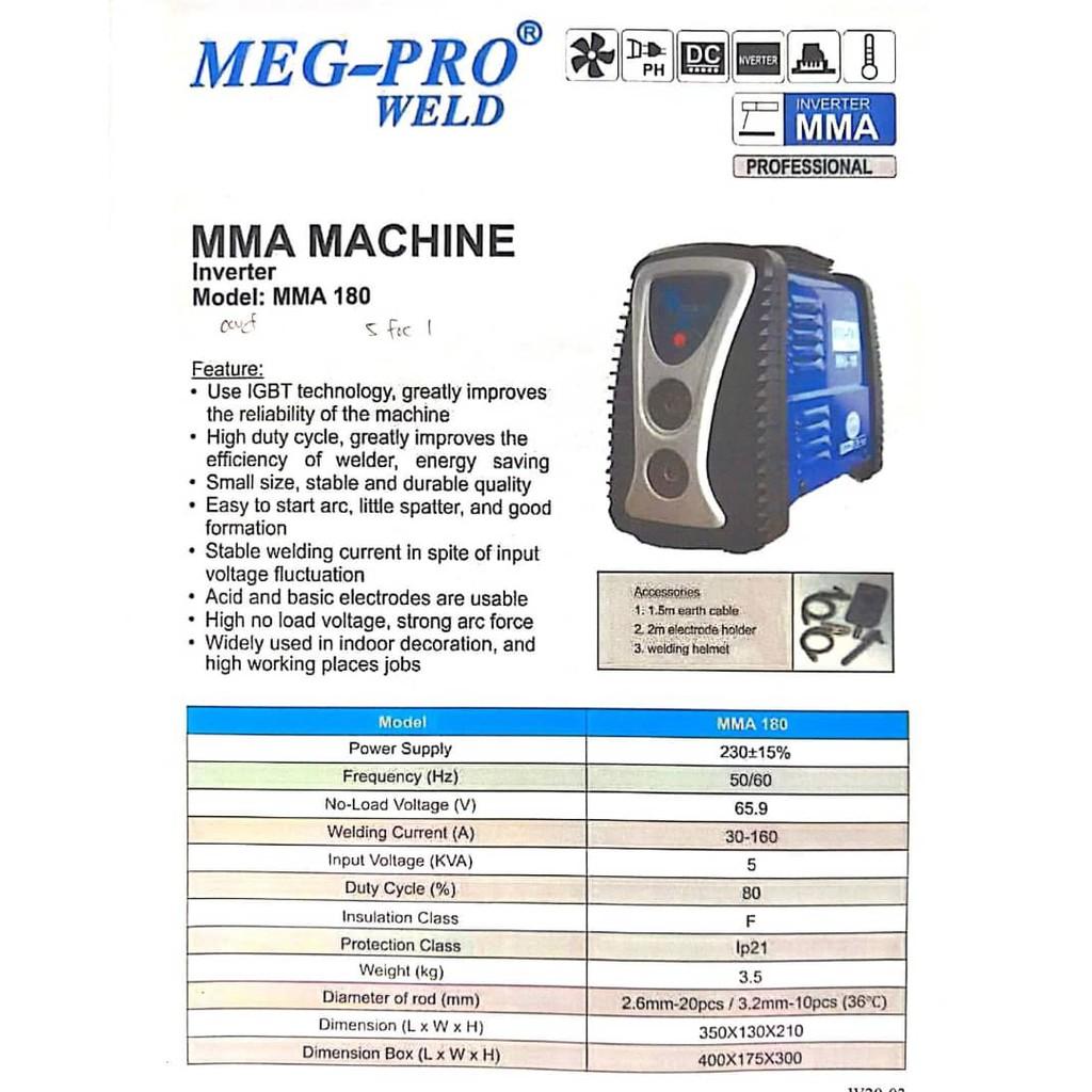 MEG-PRO MMA 180 Inverter Welding Machine