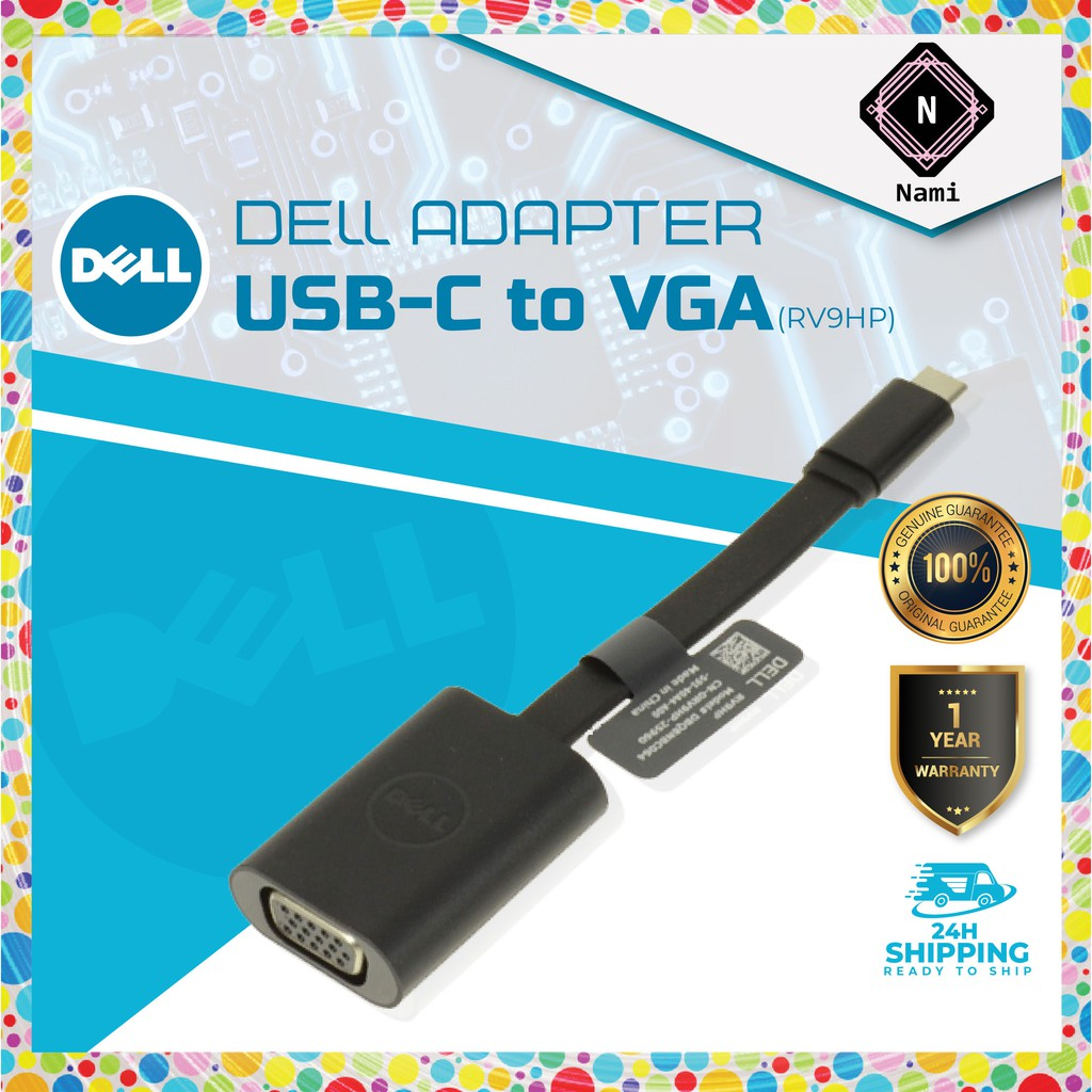 DELL USB-C (M) TO VGA (F) ADAPTER