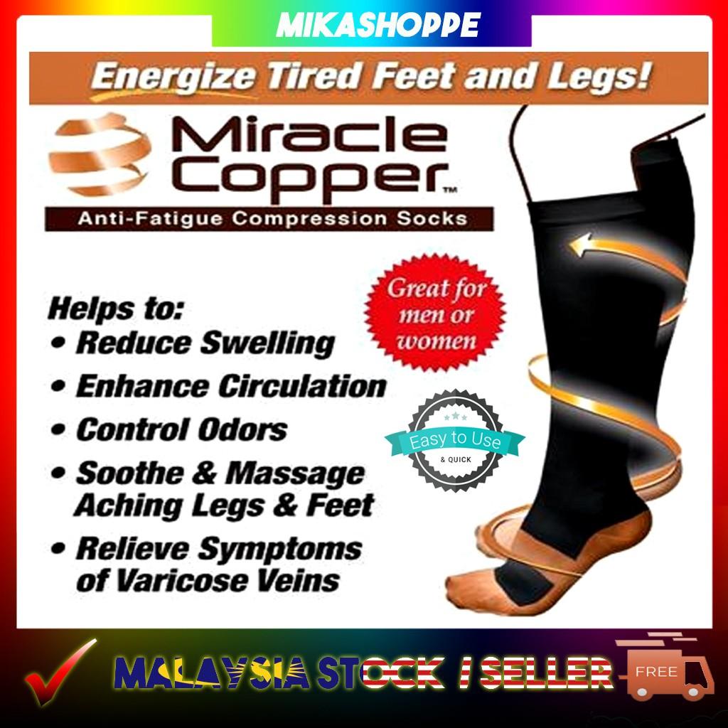 4ab4abe878e6c5 Miracle Copper Socks Anti-fatigue compression sock | Shopee Malaysia