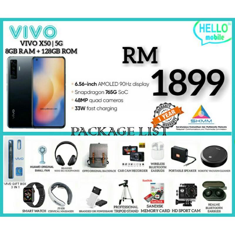 SALES 3.8 VIVO X50   5G 8GB+128GB  FREE GIFT 100% ORIGINAL MALAYSIA SET