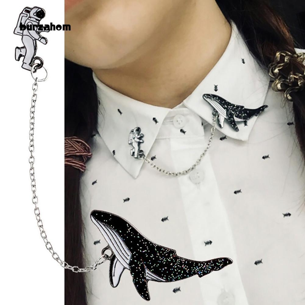 402152c31b Bur-1Set Clothes Lapel Badge Cute Cartoon Spaceman Whale Pattern Enamel  Brooch Pin