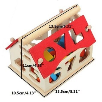 MALAYSIA O] Wooden House Number Shape Sorter Kids Educational Puzzle Assemble Blocks Toy Set/ BLOK KAYU RUMAH DIGITAL