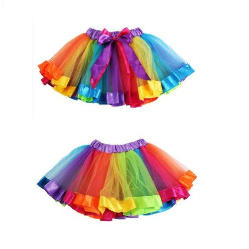 Girls Kids Baby Xmas Rainbow Tutu Skirt Party Costume Fancy Tutu