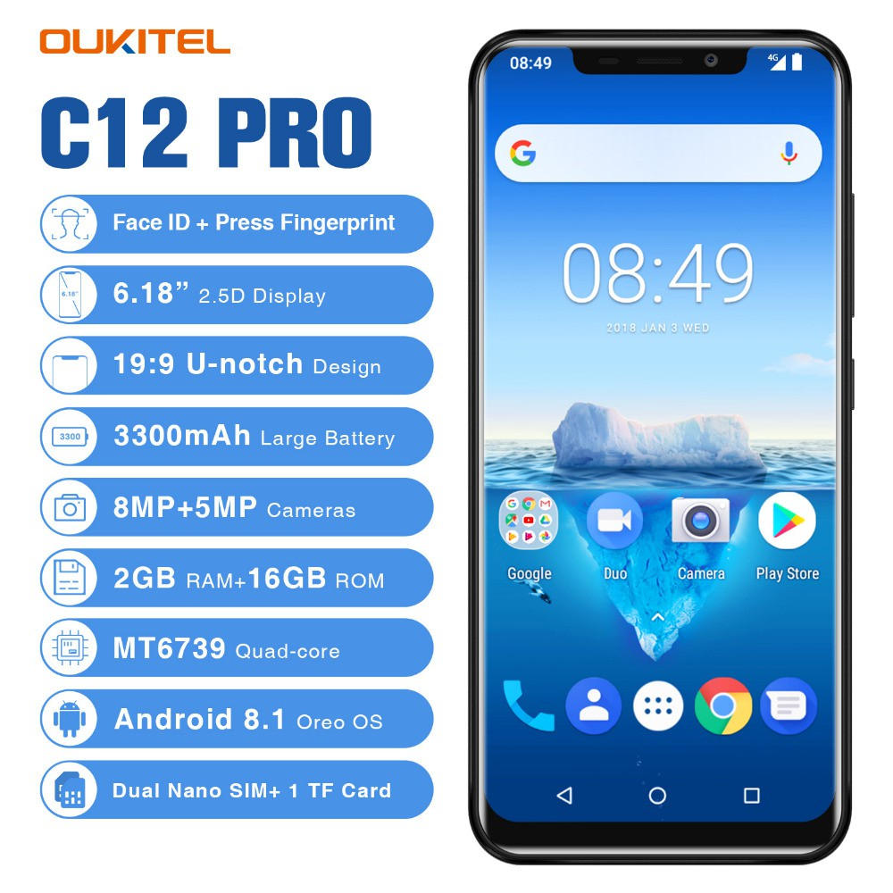 OUKITEL C12 Pro Fingerprint 6 18inch Android 8 1MT6739 Quad Core 2G RAM 16G  ROM 3300mAh 4G TE Smartphone