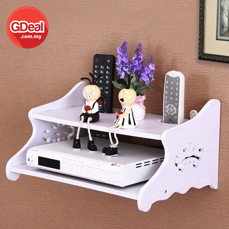 GDeal Modern Creative TV Decorder Shelf Rack Wall Mounted Home Deco Display Rack With Remote Holes