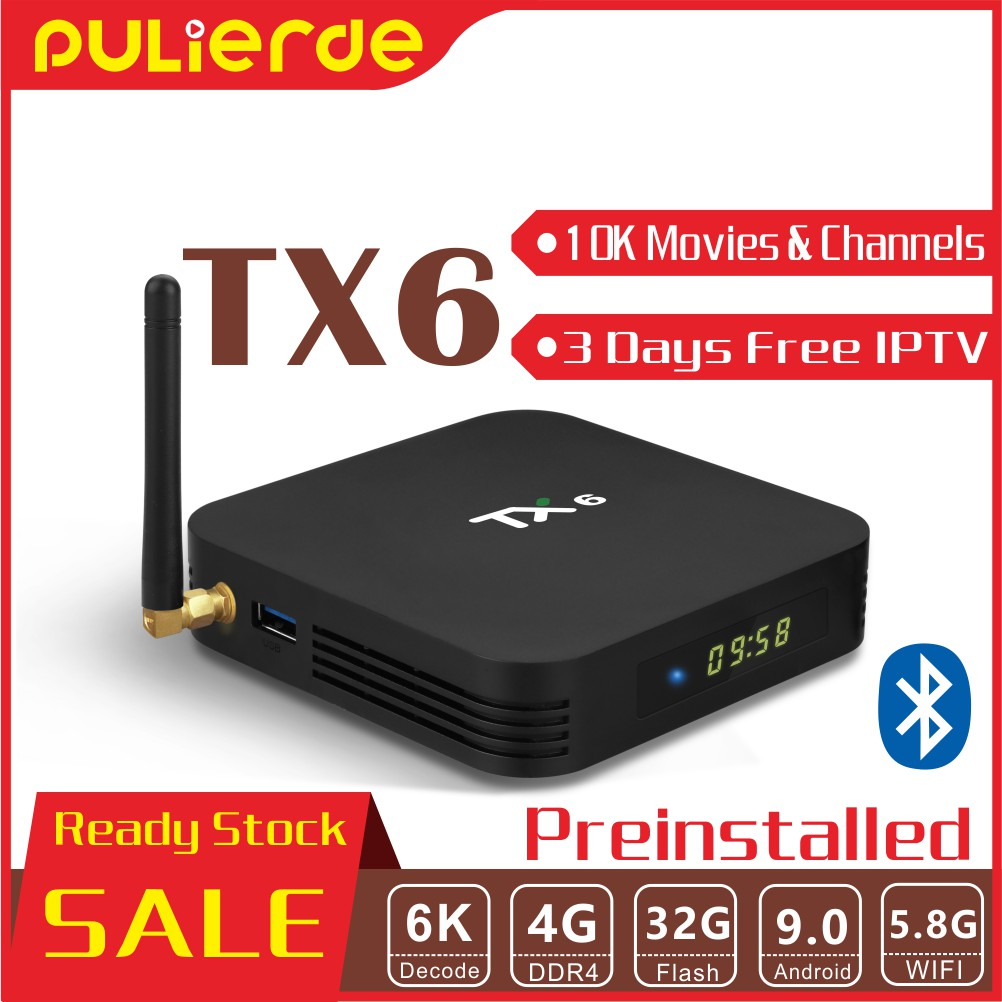 (10000 channels and movies) TX6 4G+32G Android 9 0 TV Box 4 Core 64bit H6  4K HD