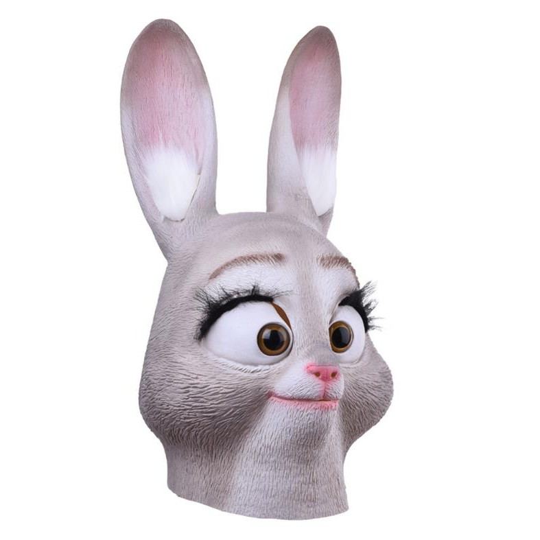 Movie Zootopia Mask Judy Hopps Mask Cosplay Costume Latex Halloween Party Helmet
