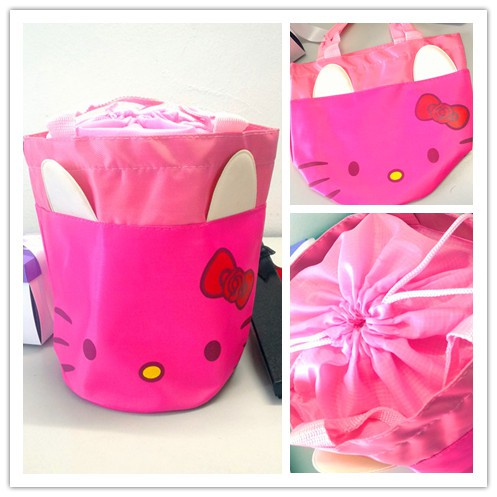 Hello Kitty Cute Lunch Box Storage Bag Picnic Tote Pouch Office School Hand Bag