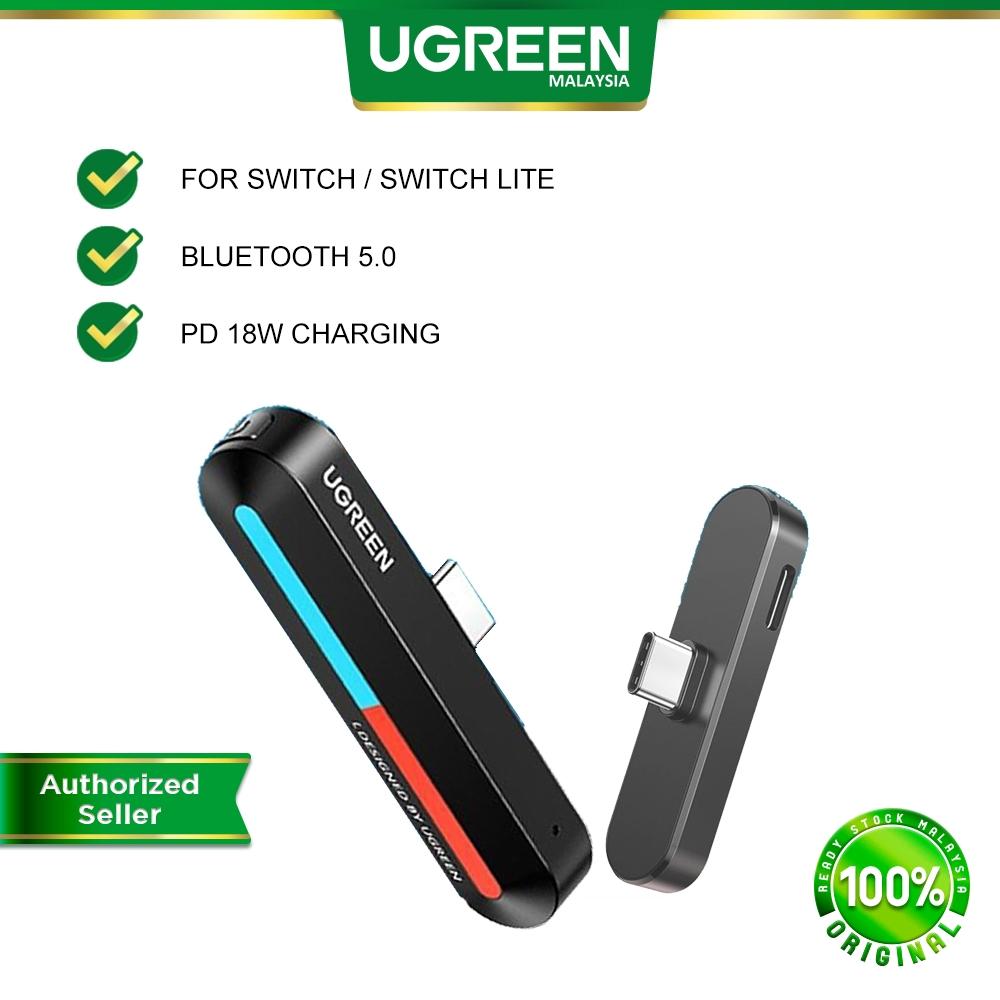 UGRREN Type C Bluetooth 5.0 Audio Transmitter Wireless Low Latency Adapter 18W Fast Charge Nintendo Switch