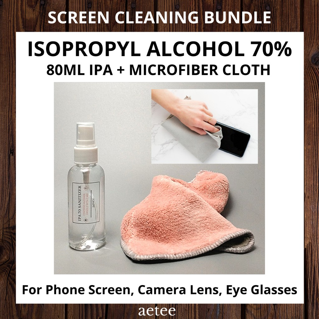 Isopropyl Alcohol |Screen Cleaning Bundle Set of 2 |IPA 70 Spray (80ml / 120ml) & Microfiber Cloth Clean screen [aetee]