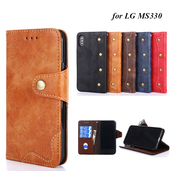 innovative design fb1c4 ccdf7 for LG MS330 PU Leather Flip Phone Wallet Case