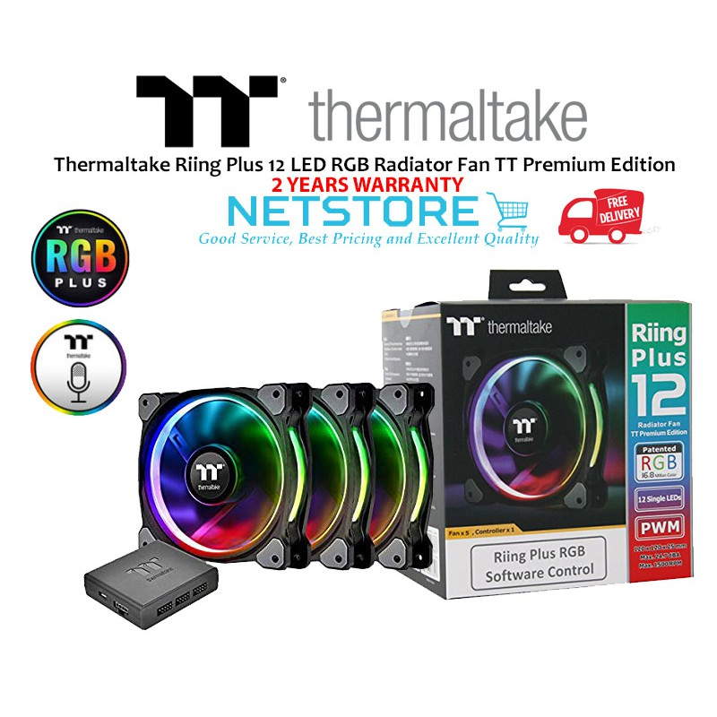 Thermaltake Riing Plus 12 LED RGB Radiator Fan TT Premium Edition