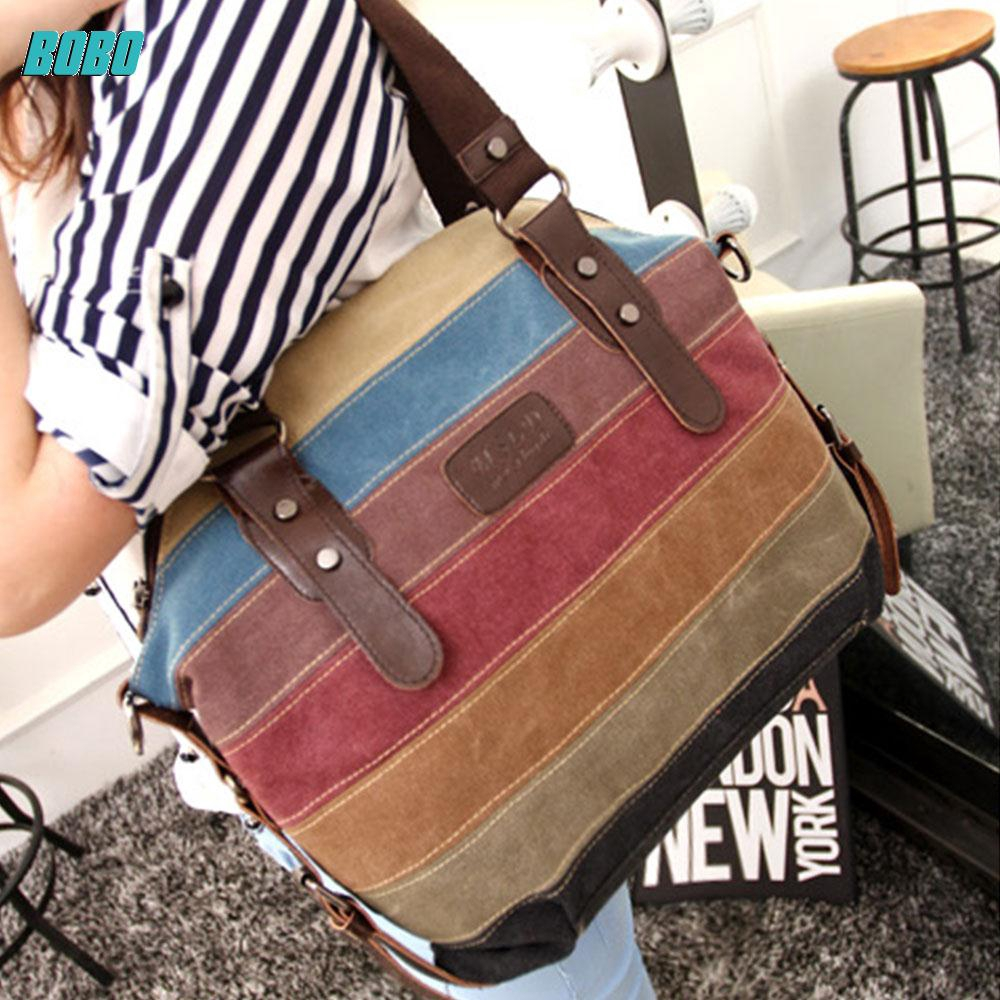 Fashion Rainbow Stripe Shoulder Bag Satchel Crossbody Tote Handbag Canvas Zipper