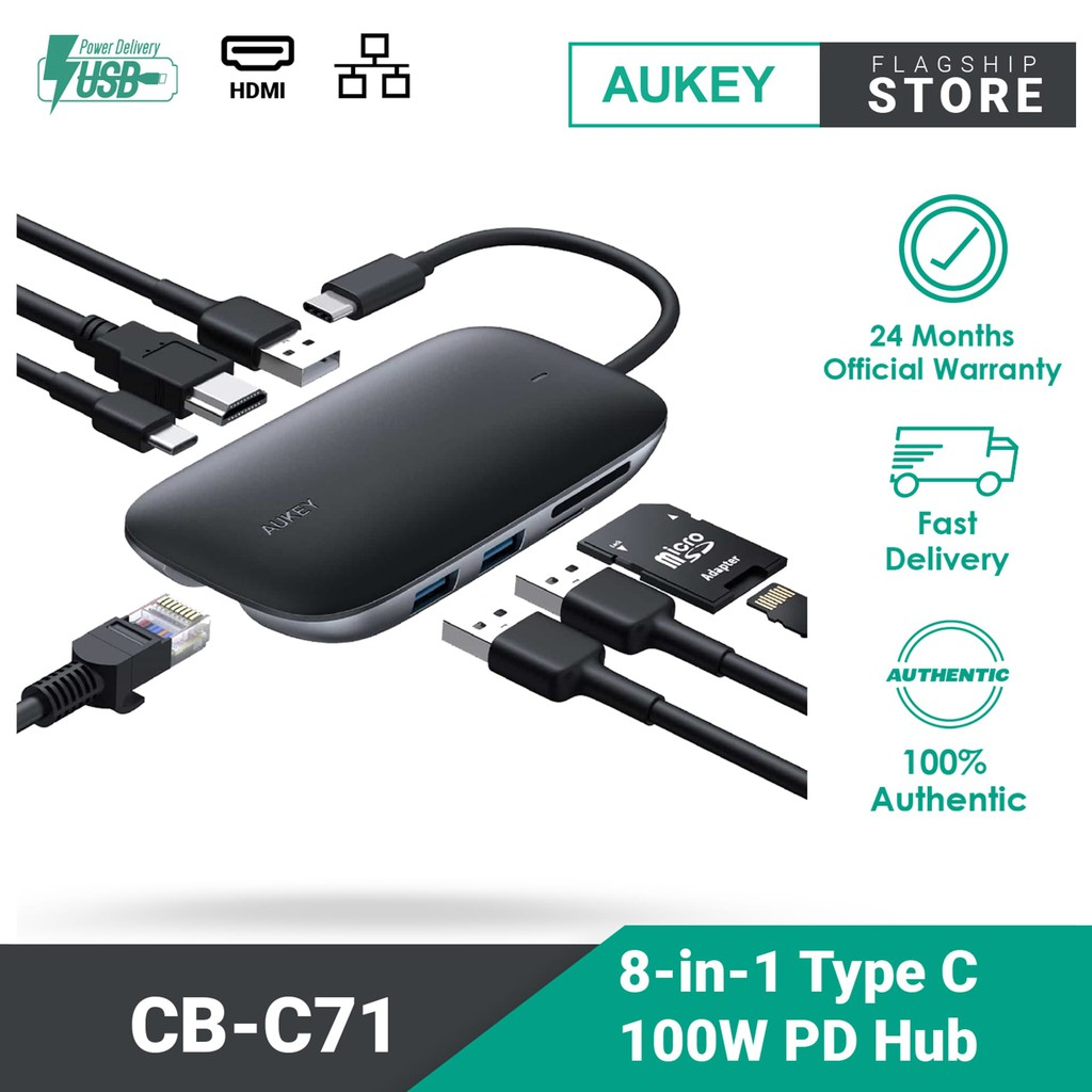 AUKEY CB-C71 8-in-1 Type C Hub with Ethernet Port, 4K HDMI, 2 USB 3.0 Ports, 100W USB C Power Delivery Charging, SD/TF