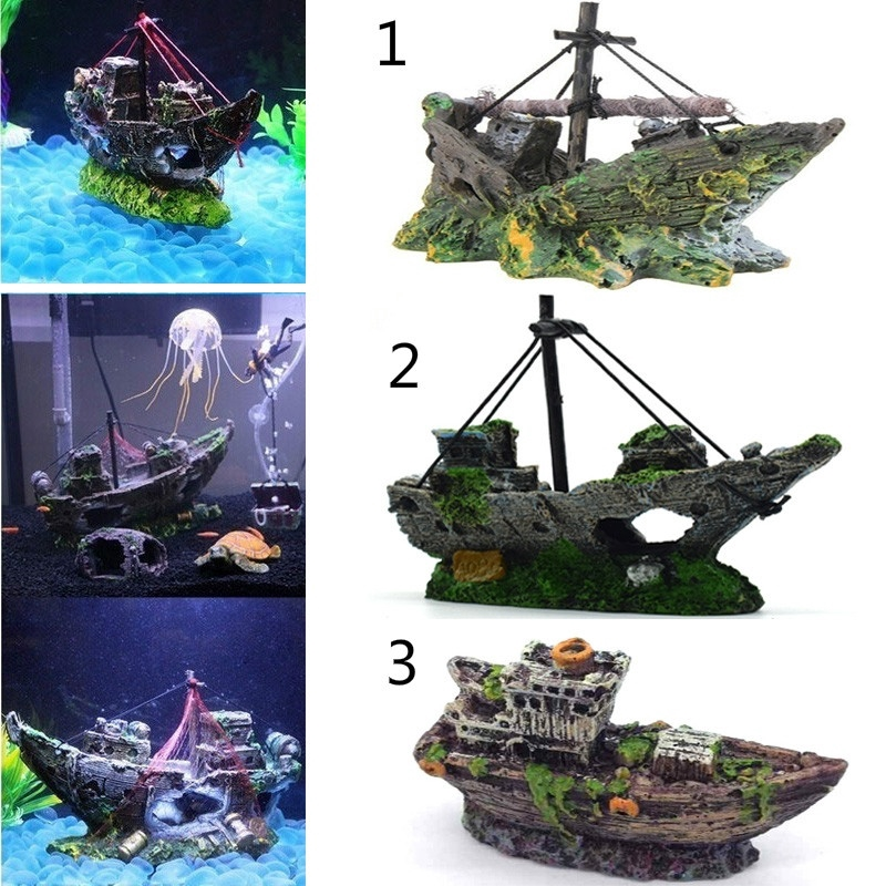 Creative Resin Wreck Sailing Boat Sunk Pirate Ship Landscape
