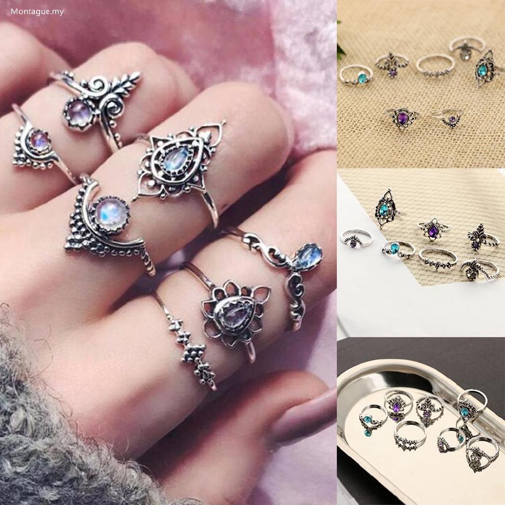 Mo Women Fashion Retro Style Alloy Geometric Shape Plastic Gem Hollow Rings