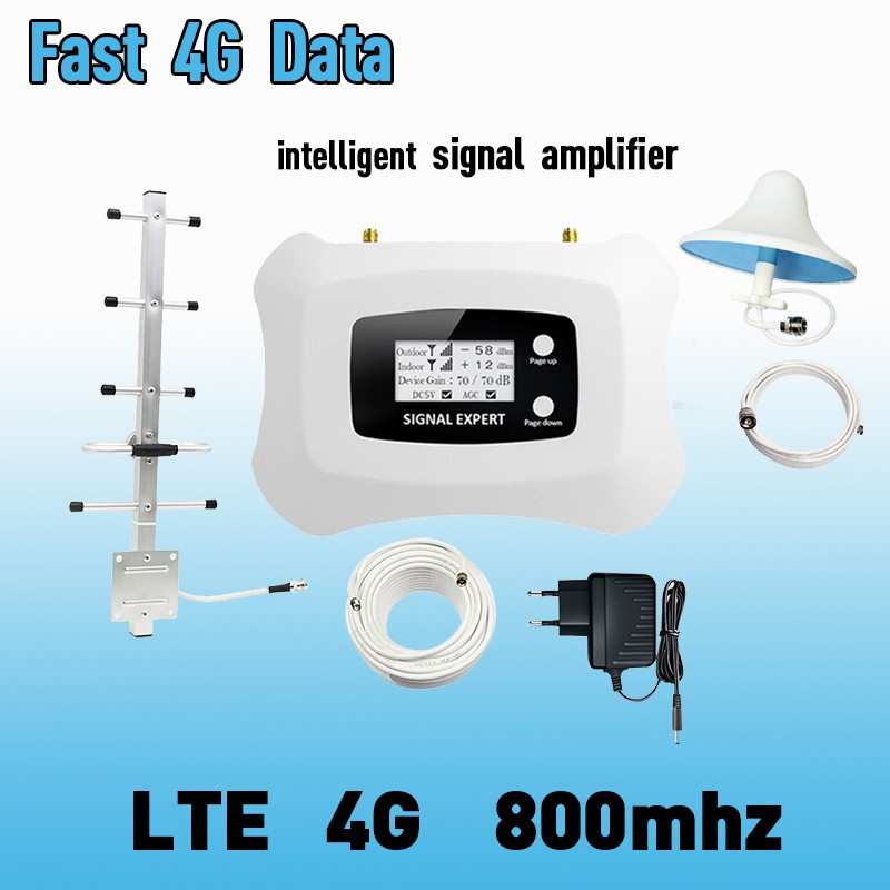 LCD Display 4G LTE 800mhz Cellular Signal Booster 70dB LTE Amplifier LTE  Band 20 4G Internet Mobile Repeater Extender