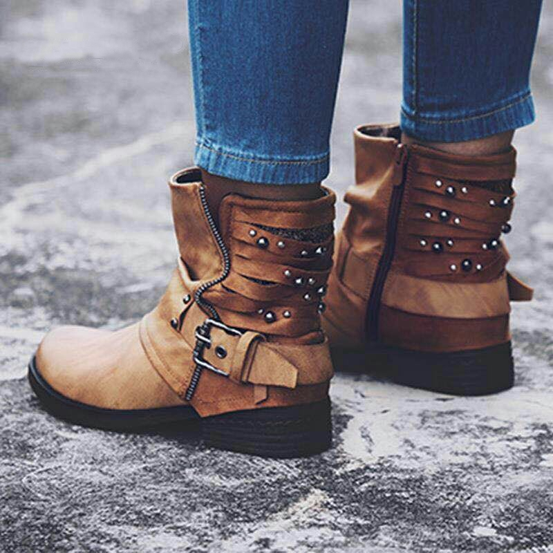 b35416c578a Womens Casual Ankle Boots Studded Winter Motorcycle Belt Buckle Leather  Shoes
