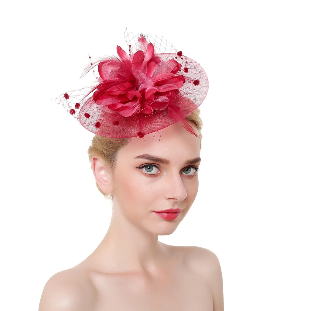 a40ad8740 Derby Netting Mesh Fascinator Hat Feather Hair Band Tea Party Headband