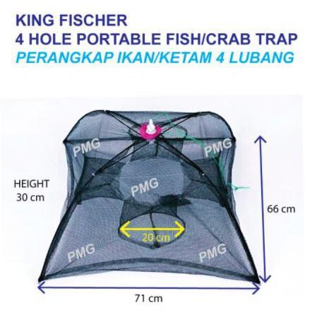 (NEW ARRIVAL) KING FISCHER Shrimp Crab Fish Umbrella Trap, 4/6/12 Holes | Bubu Payung Perangkap Ikan Ketam 4/6/12 Lubang