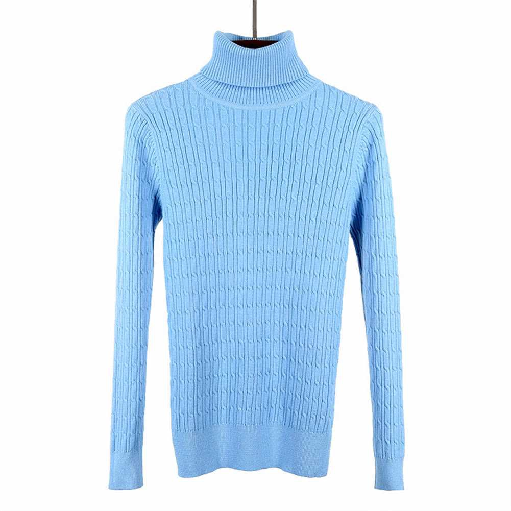 New Women Twist Knitted Sweater Solid Turtleneck Long Sleeve Slim Thickening Pullover Jumper Knitwear Top (Light Blue)