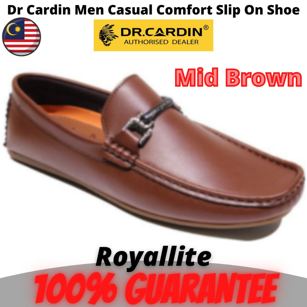 Dr Cardin Men Faux Leather Micro Suede Casual Slip-On Shoe (60731) Mid Brown & Navy