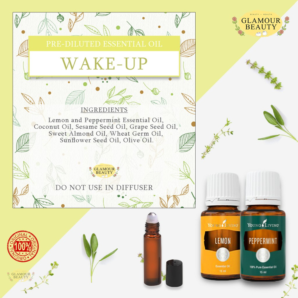 Wake Up Original Diluted Essential Oil Blend Thick Amber Glass Roller On 10ml Shopee Malaysia