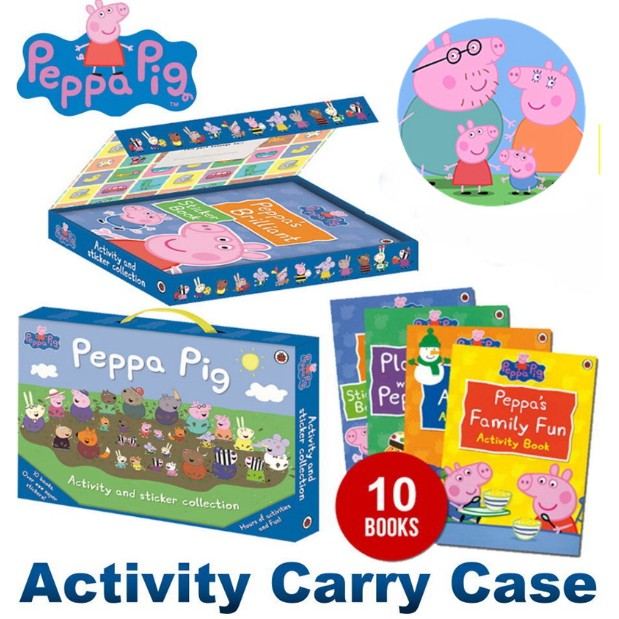 Peppa Pig Activity Carry Case 10 Activity Book + Sticker Book
