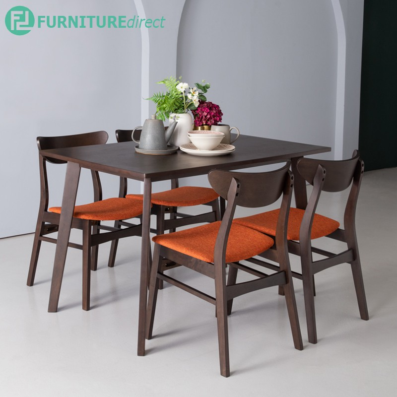 Furniture Direct AUDREY solid rubber wood dining set/ meja makan set 6 kerusi/ fabric cushion seat
