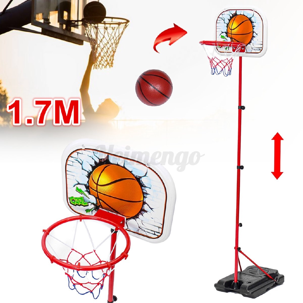 1.7m Kids Portable Basketball Hoop Stand System Adjustable Height Net Ring Ball