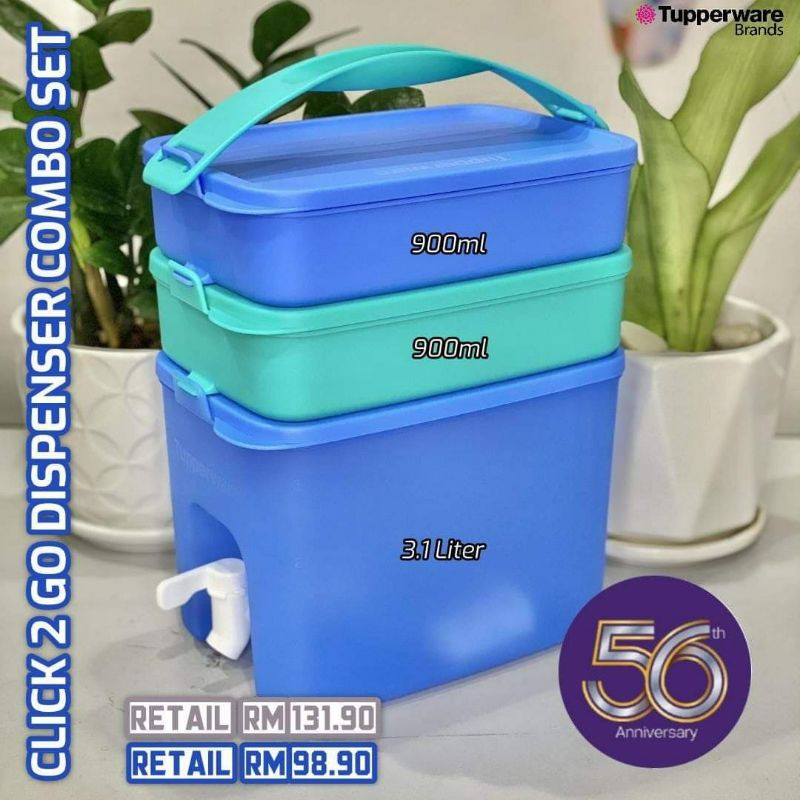 LIMITED SET TUPPERWARE CLICK TO GO SET WITH WATER DISPENSER