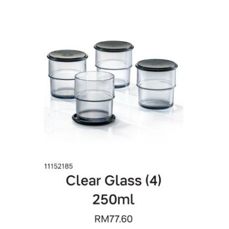 💥Tupperware Clear Glass with Lid (4pcs/set)💥