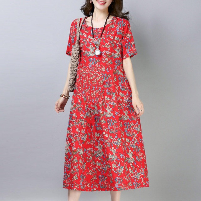 Loose Oversize Plus Size Fat Women Dress Floral Casual Soft Maxi Dress Skirts Shopee Malaysia