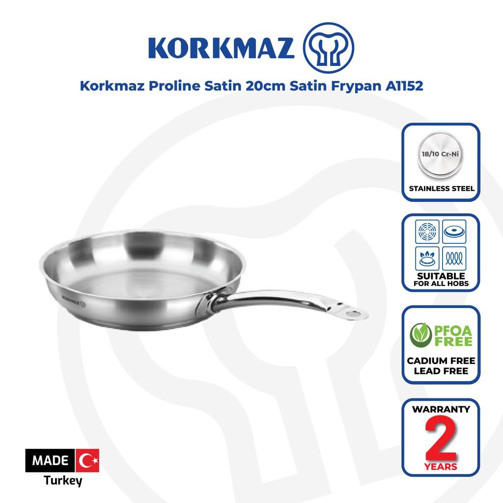 Korkmaz Proline Satin 18/10 Cr-Ni Stainless Steel Frying Pan (20x4.5 cm) A1152