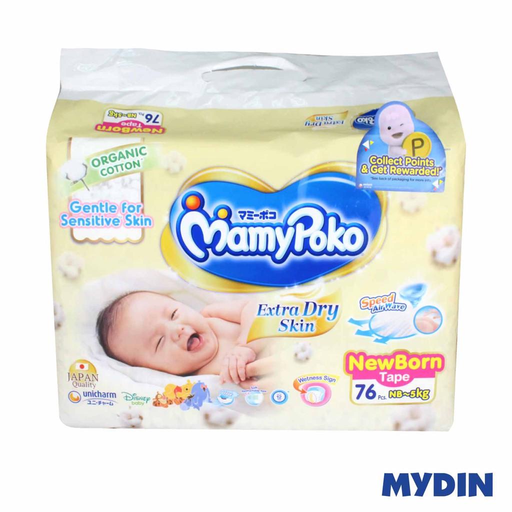 Mamypoko Organic Tape Sj Extra Dry Newborn (76pcs)