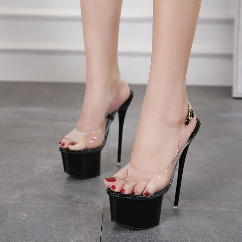6148e15c860 Year show high heel transparent sandals 16cm super high heel metal stiletto  wome
