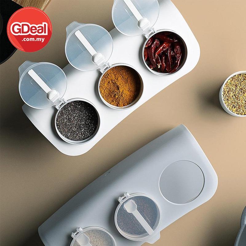 GDeal Kitchen Condiments Storage Three Combination Storage Spices Jar Kotak Simpanan Rempah كوتق سيمڤنن رمڤه