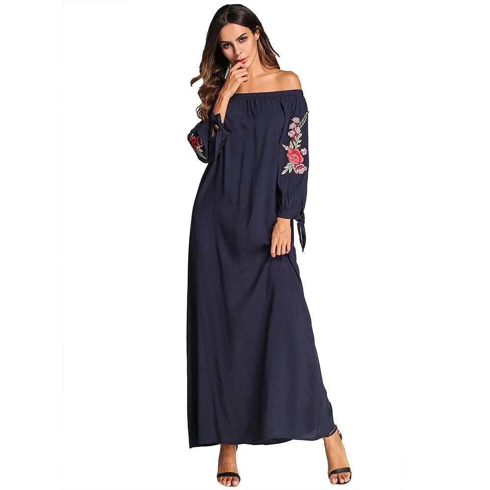 3f23a4cf43452 Casual Muslim Slash Neck Abaya Embroidery Maxi Dress Ethnic Tassel Long Rob