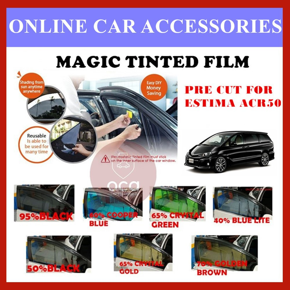 Toyota Estima ACR50 - Pre-Cut Shape Magic Tinted Solar Tinted (4 Windows & 2 Triangle /4 Windows+Rear)